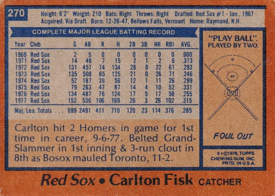 Red Sox 1978 Topps Carlton Fisk B
