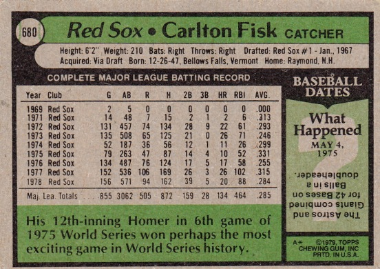 Red Sox 1979 Topps Carlton Fisk B