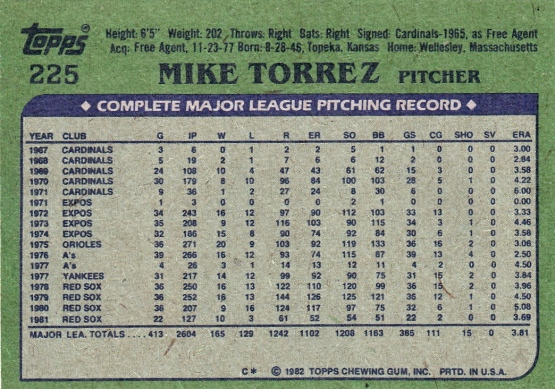 Red Sox 1982 Topps Mike Torrez B