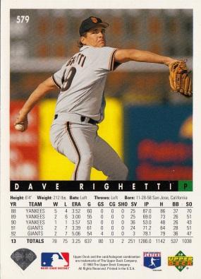 Dave Righetti, Giants, Baseball Card