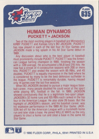 Twins 1990 Fleer Kirby Puckett HUMAN DYNAMOS B