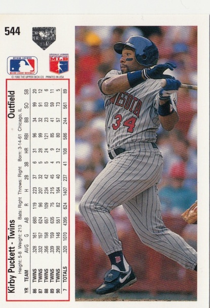 Twins 1991 Upper Deck Kirby Puckett B