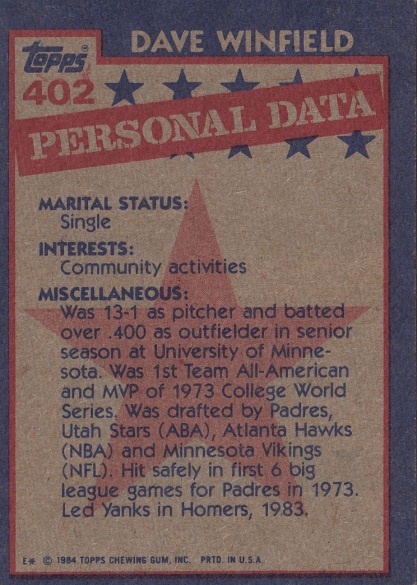 Dave Winfield 1984 Topps All Star