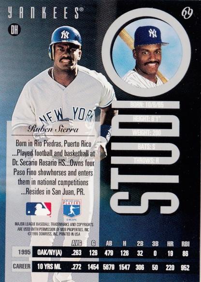 Yankees 1996 Leaf Studio Ruben Sierra B
