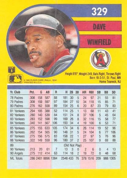 Dave Winfield 1991 Fleer