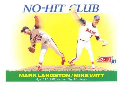 1991 Score Mark Langston Mike Witt combined No Hitter