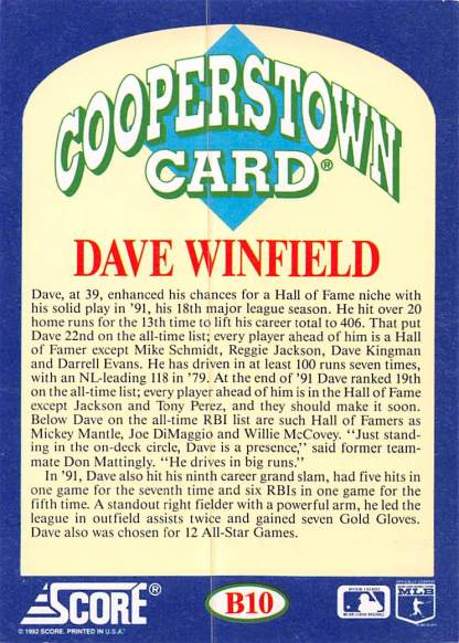 Dave Winfield Cooperstown Card