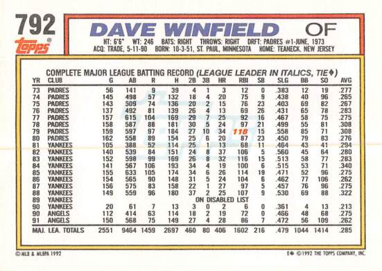 Dave Winfield 1992 Topps