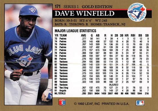 Dave Winfield 1992 Leaf Gold Edition