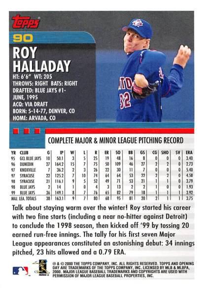 Roy Halladay Topps 2000