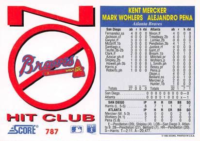 Atlanta Braves Combined No Hitter 1992 Score