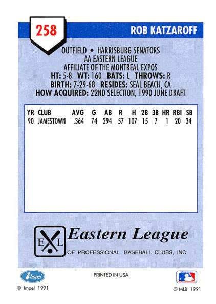 Rob Katzaroff Minor League Card