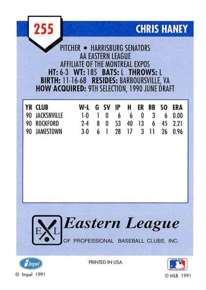 Chris Haney Minor League Card