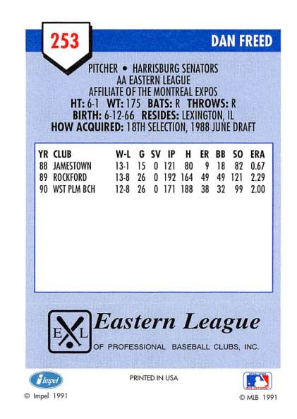 Dan Freed Minor League Card