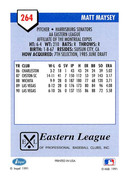 Matt Maysey Minor League Card