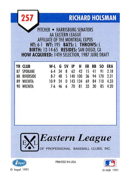 Richard Holsman Minor League Card