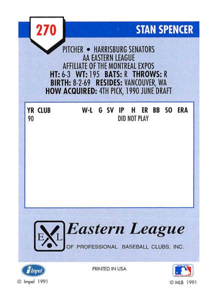 Stan Spencer Minor League Card