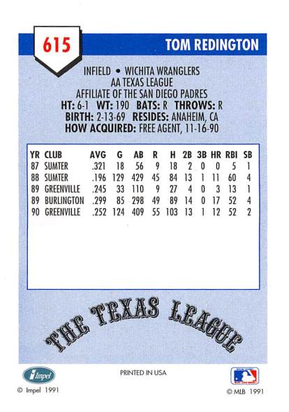 Tom Redington Minor League Card