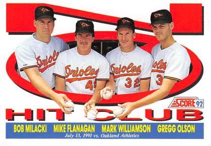 Baltimore Orioles Combined No Hitter Score 1992