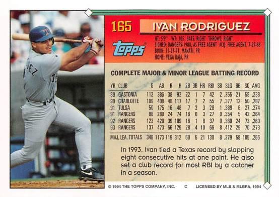 Ivan Rodriguez 1994 Topps