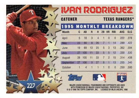 Rangers 1996 Topps Star Power Ivan Rodriguez B