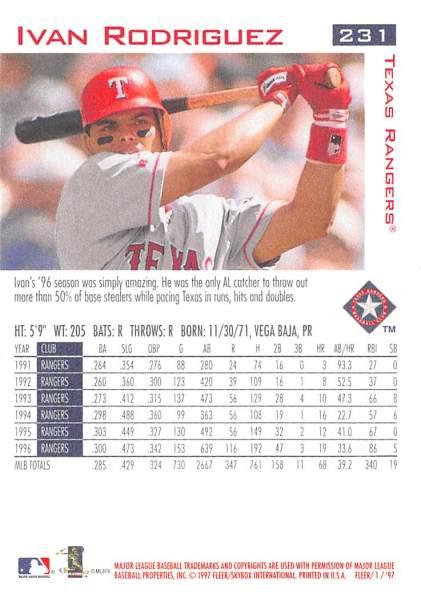 Rangers 1997 Fleer Ivan Rodriguez B