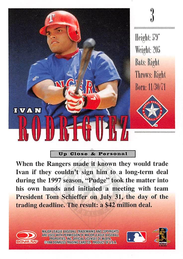 Rangers 1998 Donruss Studio Ivan Rodriguez B Big Bubbos
