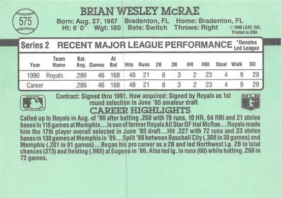 Brian McRae Rookie Card
