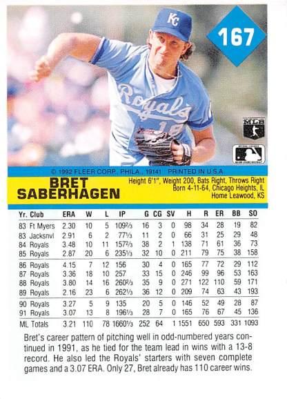 Bret Saberhagen 1992 Fleer
