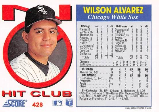 Wilson Alvarez 1992 Score No Hit Club