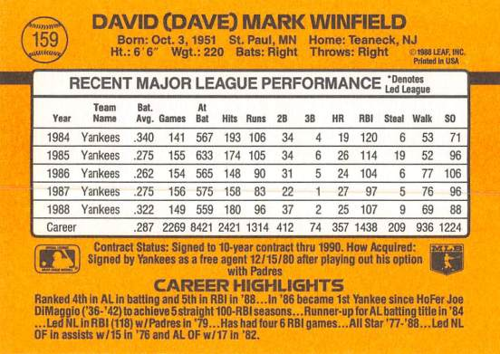Dave Winfield 1989 Donruss