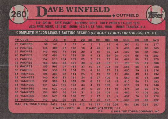 Dave Winfield 1989 Topps